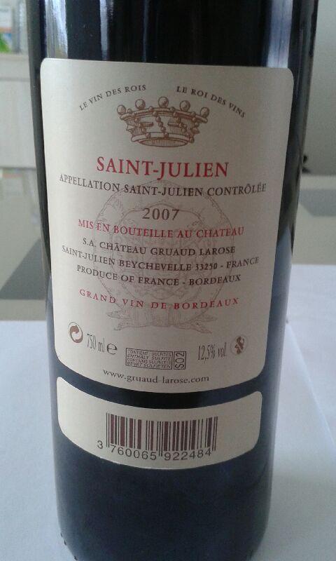 2007 Chateau Gruaud Larose Saint Julien Grand Cru Classe